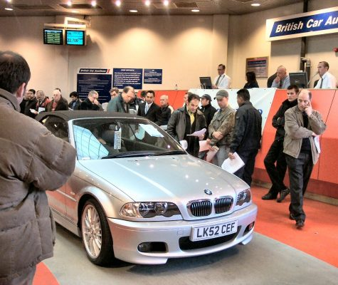 silver bmw car at auction