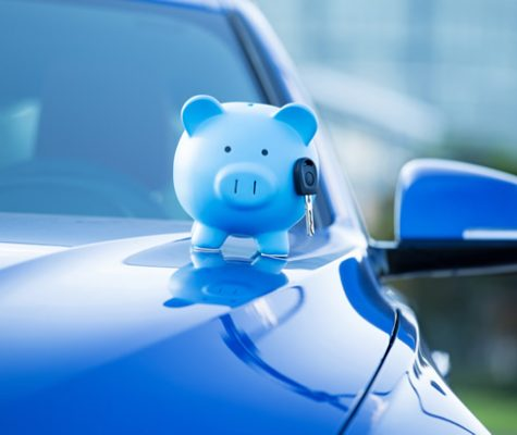 blue car bonnet with blue piggy bank on top
