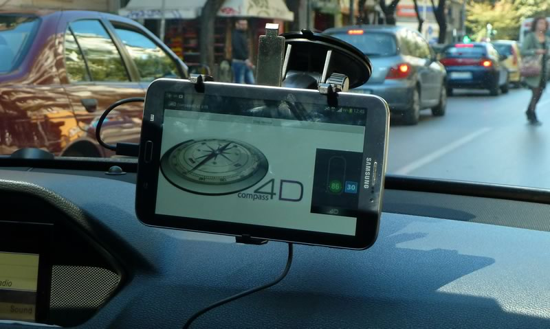 compass 4d tablet in car dashboard