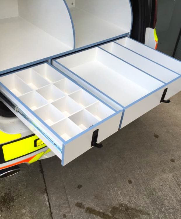 scas ambulance drawers out of the back